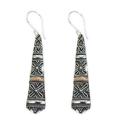 Gold accent dangle earrings, 'Denpasar Delight' - 18k Gold Accent Sterling Silver Dangle Earrings