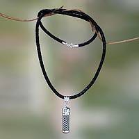 Sterling silver and leather locket necklace, 'Secret Path' - Silver Locket Necklace with Black Leather Cord
