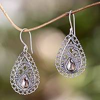 Gold accent filigree earrings, 'Silver Lace' - Silver Lace Earrings with 18k Gold