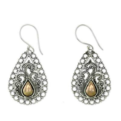 Silver Lace Earrings with 18k Gold