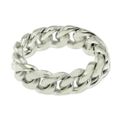 Men's sterling silver band ring, 'Freedom Declared' - Men's Silver Ring
