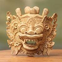 Wood mask, 'Magical Barong' - Balinese Folk Art Hero Mask