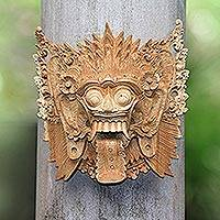 Wood mask, 'Demon Queen Rangda' - Unique Handcrafted Indonesian Mask