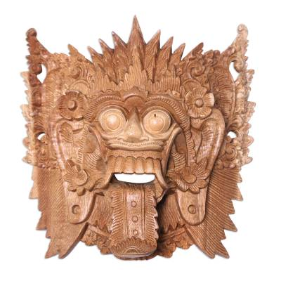 Wood mask, 'Demon Queen Rangda' - Ramayana Theme Witch Mask