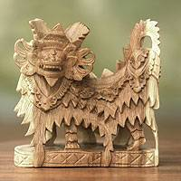 Wood sculpture, 'Barong Dances'