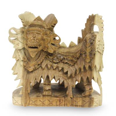 Wood sculpture, 'Barong Dances' - Artisan Crafted Wood Statuette