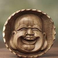 Wood mask, 'Happy Buddha'