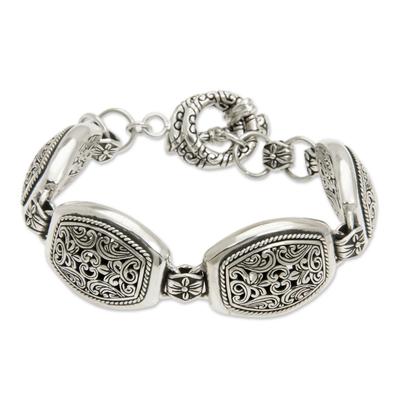 Ornate Indonesian Silver Link Bracelet