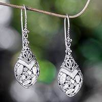 Sterling silver dangle earrings, 'Buli-buli' - Balinese Sterling Silver Dangle Earrings
