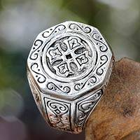 Silver signet ring, 'Lost Temple'