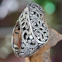 Sterling silver signet ring, 'Forest Gate' - Women's Silver Signet Ring