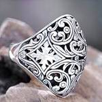 Sterling Silver Domed Ring from Bali, 'Kedaton Forest'