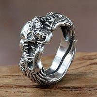 Men's sterling silver ring, 'Fierce Dragon'