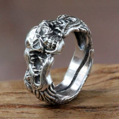 Sterling Silver Skull And Dragon Ring From Bali Fierce
