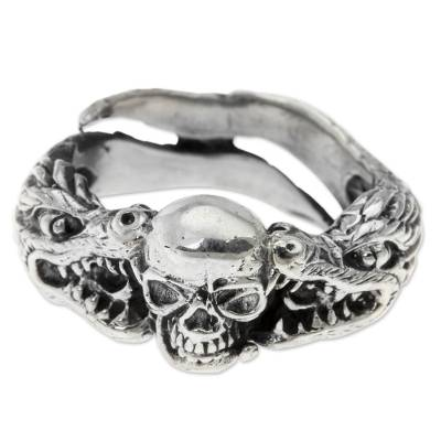 Men's sterling silver ring, 'Fierce Dragon' - Sterling Silver Skull and Dragon Ring from Bali