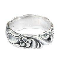 Sterling silver band ring, 'Wild Plumeria' - Floral Sterling Silver Band Ring