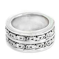Men's sterling silver band ring, 'Excellence' - Men's Heavy Sterling Silver Ring from Bali