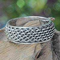 Sterling silver band ring, 'Amlapura Weave'