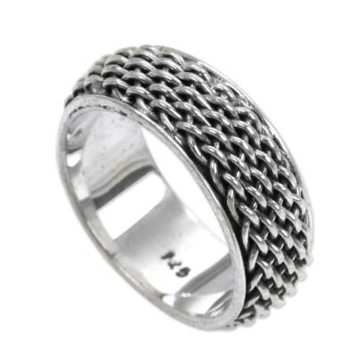 Sterling silver band ring, 'Amlapura Weave' - Women's Woven Silver Band Ring