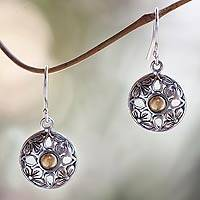 Gold accent dangle earrings, 'Golden Plumeria' - Gold accented floral earrings