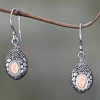 Gold accented dangle earrings, 'Golden Tears'