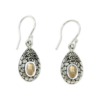 Gold accented dangle earrings, 'Golden Tears' - Gold Accented Dangle Earrings from Bali