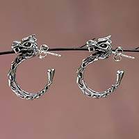 Sterling silver half-hoop earrings, 'Anantaboga Dragon' - Fair Trade Dragon Half-Hoop Earrings