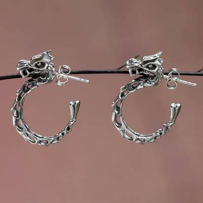 Sterling silver half-hoop earrings, 'Anantaboga Dragon' - Balinese Dragon Half-hoop Earrings