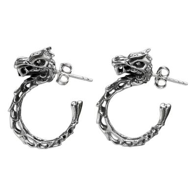 Sterling silver half-hoop earrings, 'Anantaboga Dragon' - Balinese Dragon Half-hoop Earrings