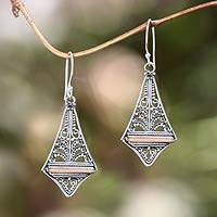 Gold accented dangle earrings, 'Kuta Kite' - Balinese Gold Accented Sterling Silver Dangle Earrings