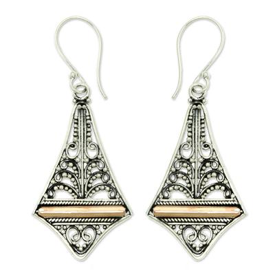 Gold accented dangle earrings, 'Kuta Kite' - Balinese Gold Accented Sterling Silver Dangle Earrings