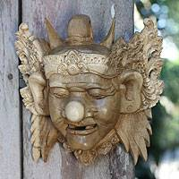 Wood mask, 'Merdah the Clown' - Acacia Wood Mask
