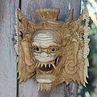 Wood mask, 'Suratma the Gatekeeper' - Balinese Cultural Mask