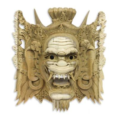 Wood mask, 'Suratma the Gatekeeper' - Balinese Cultural Mask