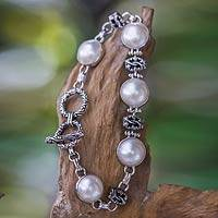 Cultured mabe pearl link bracelet, 'Moonlit Poem' - Cultured Mabe Pearl Link Bracelet