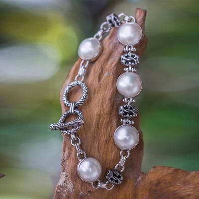 Cultured mabe pearl link bracelet, 'Moonlit Poem' - Cultured Mabe Pearl Link Bracelet