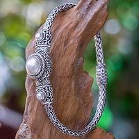 Pearl pendant bracelet, 'Celuk Nobility' - Indonesian Pearl and Sterling Silver Bracelet