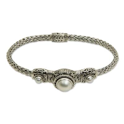 Pearl and Sterling Silver Pendant Bracelet
