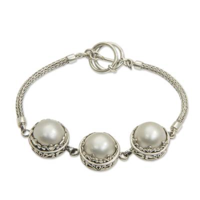 Mabe Pearl and Sterling Silver Bracelet