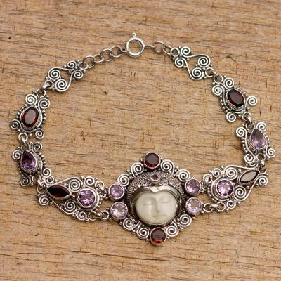 Amethyst and garnet link bracelet, 'Sleeping Princess' - Amethyst and Garnet Sterling Silver Link Bracelet from Bali