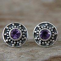 Amethyst stud earrings, 'Winter Halo'