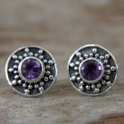 Amethyst stud earrings, 'Winter Halo' - Amethyst and Sterling Silver Stud Earrings from Bali