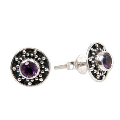 Amethyst and Sterling Silver Button Earrings from Bali