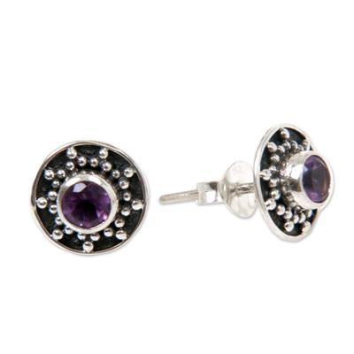 Amethyst stud earrings, 'Winter Halo' - Amethyst and Sterling Silver Stud Earrings from Bali