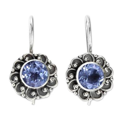 Blue topaz drop earrings, 'Singaraja Sunflower Blue' - Balinese Blue Topaz Sunflower Drop Earrings
