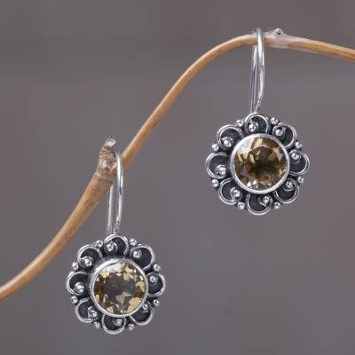 Citrine drop earrings, 'Singaraja Sunflower' - Sterling Silver and Citrine Sunflower Drop Earrings
