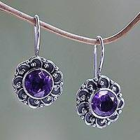 Amethyst drop earrings 'Singaraja Sunflower Purple'