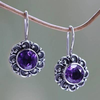 Amethyst drop earrings 'Singaraja Sunflower Purple' - Amethyst Sunflower Drop Earrings from Bali