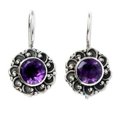 Amethyst drop earrings 'Singaraja Sunflower Purple' - Amethyst Sunflower Drop Earrings from Bali