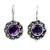 Amethyst drop earrings 'Singaraja Sunflower Purple' - Amethyst Sunflower Drop Earrings from Bali (image 2a) thumbail